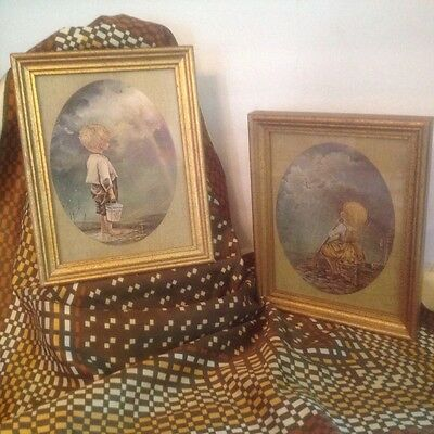 vintage pair boy and girl urchins with rainbow & sunlight framed art prints