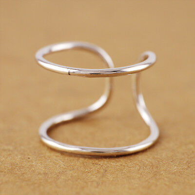 925 Sterling Silver Simple Double Line Band size 6 Open Adjustable Ring A3140