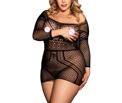 Women Sexy Lingerie Tight Nightdress Transparent Backless Hollow-out Plus Size