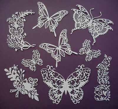 Butterflies Die Cuts Set - made from Paper - Scrapbooking Card Making Topper