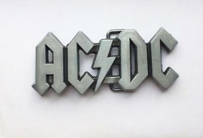 Vintage Pewter Hollow AC DC Music Metal Belt Buckle Mens  Cool Rock Roll Silver