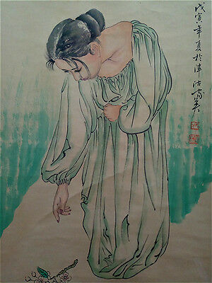 """Excellent Chinese Hand Painting & Scroll """"Beauty"""" By He JiaYing 何家英 WED28"""