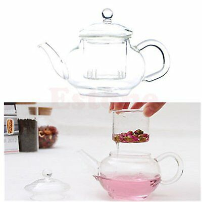 HOT 250ml Heat Resistant Transparent Glass Teapot Infuser Coffee Herbal Tea RBK