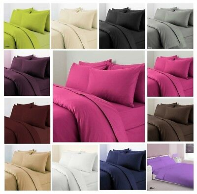 Duvet Cover Set Pillow Case Plain Dyed Quilt Cover Set Single Double Super King