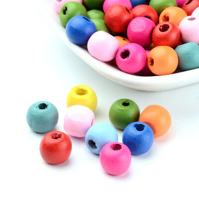 100pcs Colorful Round Wood Beads Smooth Loose Spacer Beads Beading Craft 10x9mm