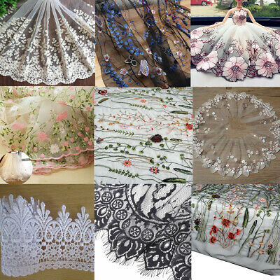 Lace Trim Floral Sewing Fabric Tulle Vintage Mesh Ribbon Embroidered DIY Crafts