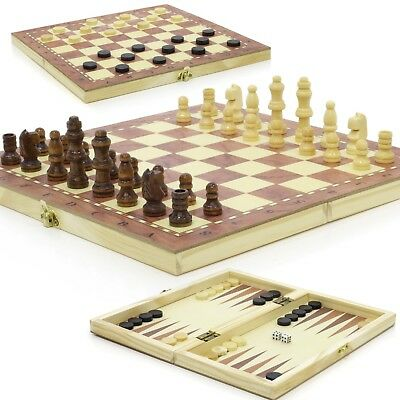 New ♞ Hand Crafted 3-in-1 Wooden Chess & Draughts Travel Board Set 34cm x 34cm ♚