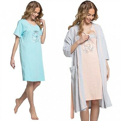 Happy Mama Women's Maternity Hospital Gown Robe Nightie Set Labour & Birth. 978p