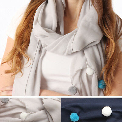 Womens Chiffon Pom Pom Scarf Shawl Wrap UK SELLER Festival Mothers Day Sale Gift