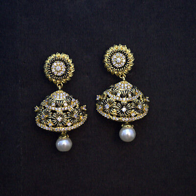 AD Cz Bollywood Ethnic Wedding Modern Ancient Gold Plated Earring With Drop