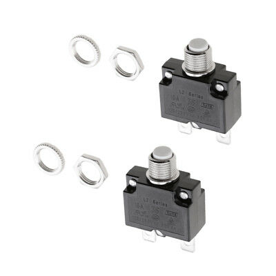 2Pcs Thermal Resettable Circuit Breaker Panel Mount Overload Protector 10A