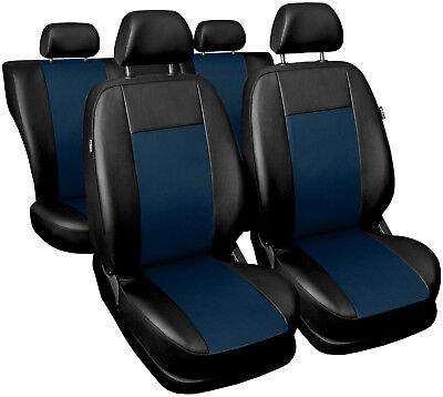 Car seat covers fit FORD FOCUS Mk1 Mk2 - full set leatherette black / navy blue