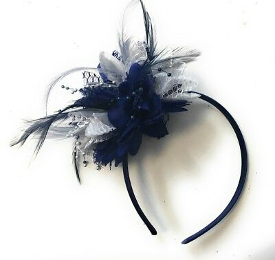 BESPOKE Navy Blue & Silver Fascinator on Headband Flower Corsage Ascot Races