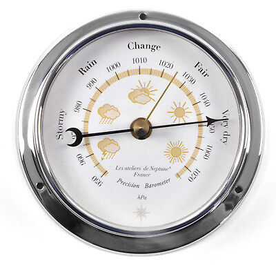 Yellow Cloud Dial Barometer  - Polished Brass / Chromed / Varnished WEA 1000 J -