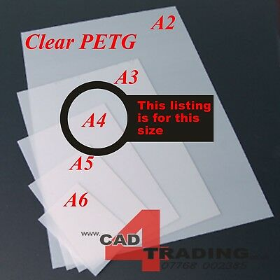 2mm (80 Thou) A4+ Crystal Clear PETG Plastic Sheet Modelling Vacuum Forming