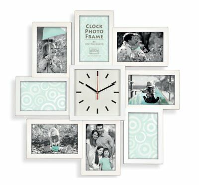 8 Multi Aperture Modern Collage Photo Family Picture Frame & Time Wall Clock