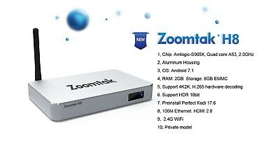Android TV BOX - Zoomtak H8 - Amlogic 4 core 2G DDR3+8G EMMC Android 7.1.2
