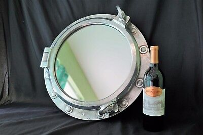 Ship Salvage Marine Port Hole 2 Dog Boat Porthole Mirror Aluminum Wood Frame