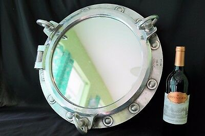 Ship Salvage Marine Port Hole 3 Dog Boat Porthole Mirror Aluminum Wood Frame