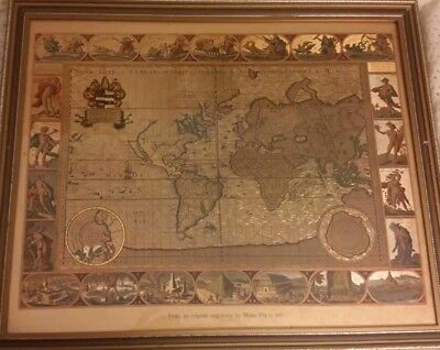 Job lot of Metal Etched Reproduction Old World Maps