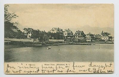 Wickford, RI - EARLY 1906 VIEW FROM WATER - HOUSES & BOATS - UDB Postcard - G
