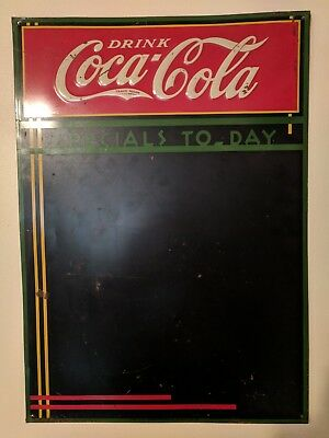 VINTAGE COCA COLA EMBOSSED TIN CHALKBOARD SIGN 1930's Early Gas Station Diner
