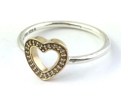 7fe84a9f9 NEW AUTHENTIC PANDORA Silver 14k Gold SYMBOL OF LOVE Ring Heart 54 7 ...