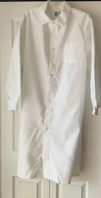 Lot Of 2 White Lab Coat Men Women Long Cuffed Sleeves Side Vents Size Small NWOT