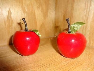 """Vintage Red Apple Christmas Holiday Craft Tree Ornament 1 3/4"""" Lot of Two PCS"""
