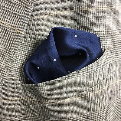 Navy Blue Pocket Square WOVEN WHITE SPOT DOT Pattern Luxury Top Suit Jacket Hank
