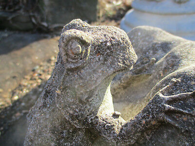 Very Cool Weathered Frog On Lily Pad Vintage Cement/concrete Garden Statue