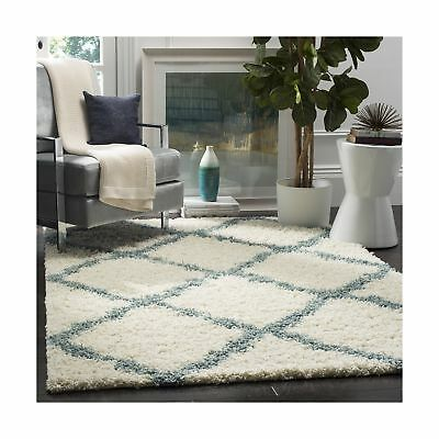 Safavieh Dallas Shag Collection SGD257J Ivory and Light Blue Area Rug (8' x 1...