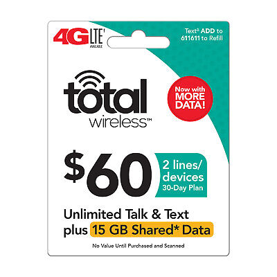 Total Wireless $60 Shared Data Family Plan,15GB,for up to 2 lines, fast & right