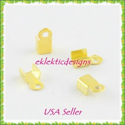 100pcs Gold Plated Cord Ends Caps Tips 6x3mm Crimps Necklace Jewelry Findings