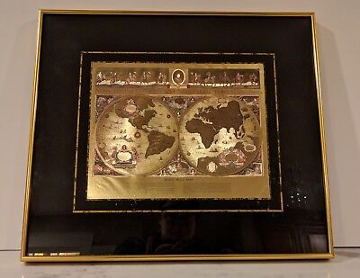 VINTAGE BLAEU WORLD Map Framed Gold Foil- Ready To Hang - $149.99 ...