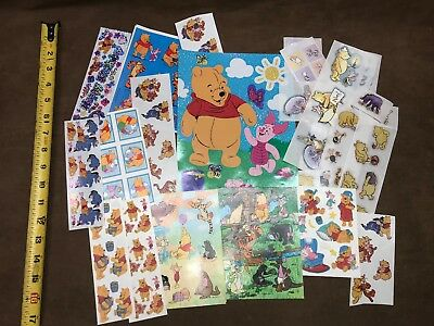 Huge Lot Of Winnie The Pooh Stickers Scrapbook Classic Fuzzy