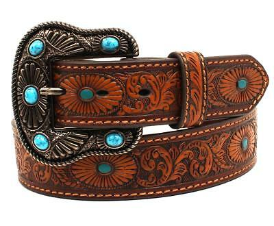 Nocona Western Womens Belt Leather Embossed Painted Turquoise Brown N3412002