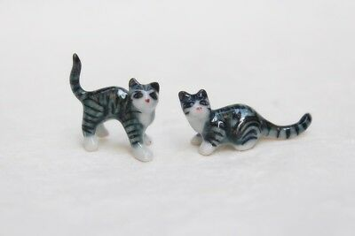 Miniature Cute 2 Cat Siam Animal Ceramic Figurine Hand Painted Collectible Gift