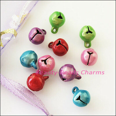25Pcs Mixed Aluminum Christmas Bell Charms Pendants 8mm