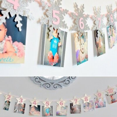 1-12 Month Photo Frame Bunting Garland Banner With Gold Crown Baby Shower Decor