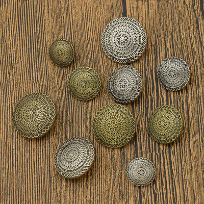 10pcs Round Metal Button Flower Carved for Coats Jackets DIY Sewing Supplies