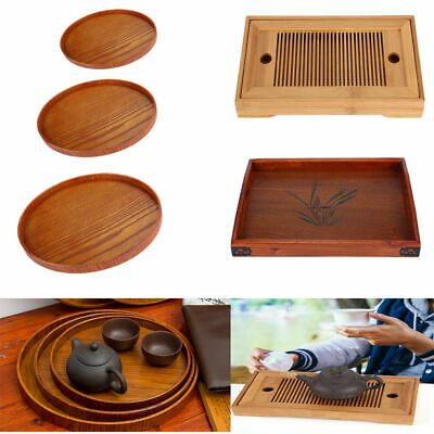 Bamboo Wood Serving Tray Tea Food Server Dishes Round Rectangle Wooden Plate GL