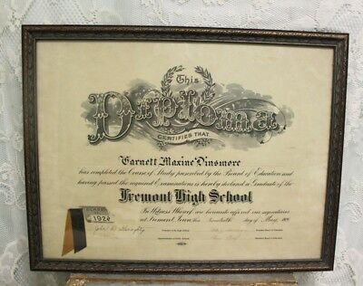 """Large Antique Framed 1926 Fremont Iowa High School Diploma 22 3/4"""" X 17 3/4"""""""
