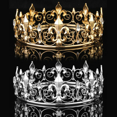 Men's Imperial Medieval Fleur De Lis King Crown 8.5cm High 18cm Diameter USA