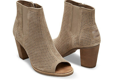 8263523440d TOMS Stucco Suede Perforated Women s Majorca Peep Toe Booties. STYLE   10004983