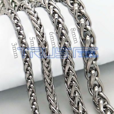 Necklace Silver Stainless Steel Unisex's Chain Men Women  20-30 inches 3-8mm A24