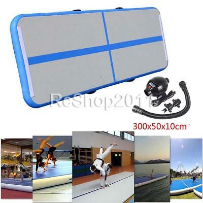 3*0.5*0.1M Inflatable Air Track Tumbling Floor Gymnastics Training Pad Mat Blue