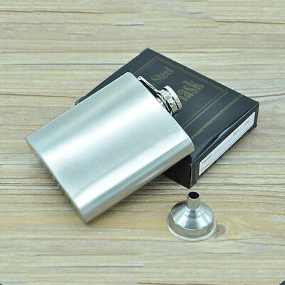 6oz Stainless Steel Hip Liquor Whiskey Alcohol Pocket Flask With Portable Funnel