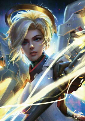 "027 Mercy - Overwatch Sexy Hero Online Hot Game Pinup 14""x19"" Poster"