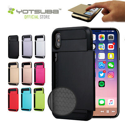 iPhone X XR X XS Max Shockproof Slide Card Tough Hard Case Cover Apple